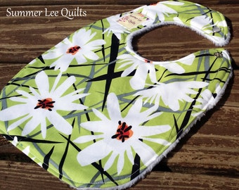 White Flowers on Green Baby Girl to Toddler Bib - Gorgeous Floral Minky Backed Modern Bib - Ready to Ship
