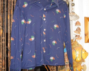 Navy Blue Buttoned Down Shirt with Embroidery-Like Prints, Medium