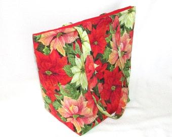 Tote Bag, Poinsettia Christmas Tote Bag, Cloth Purse, Handmade Handbag, Fabric Bag, Shoulder Bag, Red, Holiday Purse, Christmas Flower