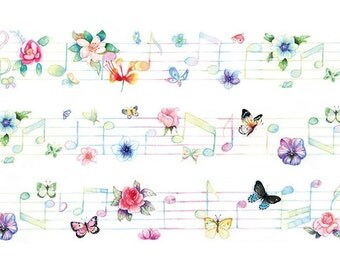 Flower & Musical Notes Washi Tape (25mm X 7M)