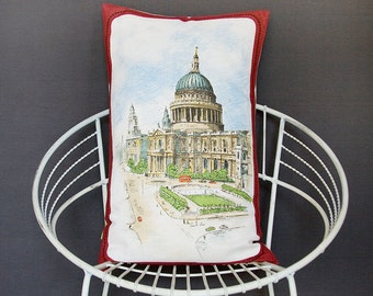 Vintage Cushion London Souvenir St Pauls Cathedral Pillow Remade Upcycled Tea Towel, Vintage Linen, Red Bus, London Architecture Landmark GB