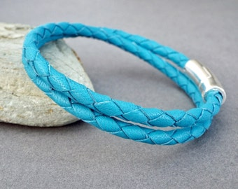 Leather Bracelet, Womens Jewelry, Girlfriend Gift, Gift for Her, Braided Leather, Leather Jewelry