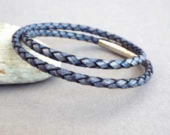 Mens Leather Bracelet, Braided Leather Bangle, Men's Jewelry, Boyfriend Gift