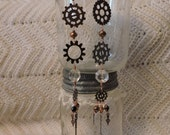 Steampunk Earrings, shoulder dusters, unique, copper & crystals