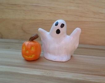 Ghost and Pumpkin miniatures, Halloween Decor, Halloween Dollhouse Miniature #84