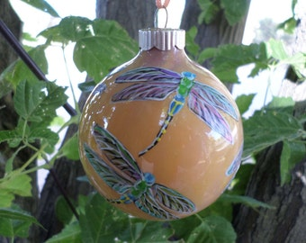 Hand Painted Ornament, Glass Dragonfly Ornament , christmas ornament, peach, purple 250