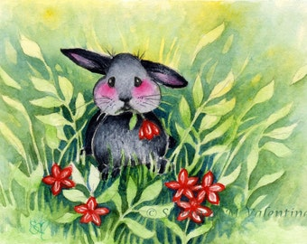 "Cute Bunny Nature Art ""Just For You"" Woodland Art Print"