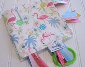 Sensory Ribbon Blanket,Lovey,Tag Blanket/Tropicana/Organic Cotton Fleece
