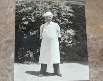 "Old Butcher Occupational Photograph - 1930's or 40's - Man in White Apron & Hat - Original Antique 5""x7"" Photo - Unusual Portrait"