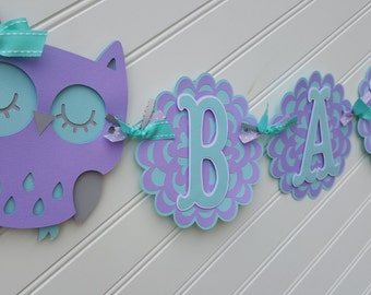 Owl Baby Shower Banner, Purple and Gray banner. Purple and Aqua Banner. Baby Shower Decorations. Owl Decorations. Owl Banner. Happy Birthday