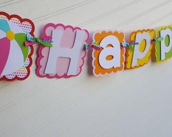 Girls Beach ball  Birthday banner in bright colors: Pink, aqua, yellow, green.  Beach, pool theme banner