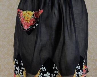 Vintage Hankie Apron Black Organdy Orange Yellow Floral Handkerchief Trim
