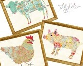 Farm Animals Wall Art, Kitchen or Bathroom Wall Art, Quilted Cow, Spotted Chicken, Bohemian Pig, Unique Colorful Wall Decor, LilyCole