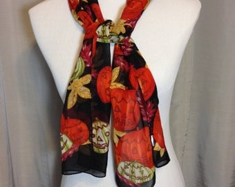 Halloween Scarf with Pumpkins and Fall Leaves in Brown & Orange by Liz Claiborne 51.5 Inches Long 10 Inches Wide