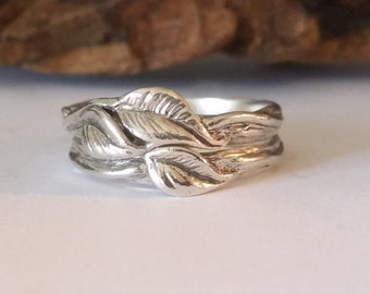 Leaf and Twigs Engagement Wedding Set, Twig Stacking Wedding Band with Leaves in Sterling Silver hand sculpted by Dawn Vertrees