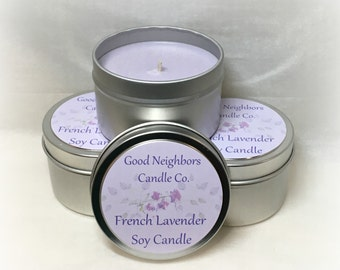 French Lavender 6 ounce Tin, Soy Candle, Purple, Herbal, Relaxing, Lavender Candle