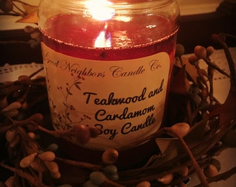 Teakwood and Cardamom Jar Candle, 12 ounce, Soy candle, Woodsy, Herby, Spicy