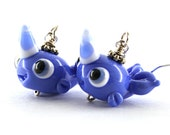 Narwhal earrings charms jewelry whale glass lampwork blue narwhal silver earrings ,artisan lampwork earrings ,whale earrings