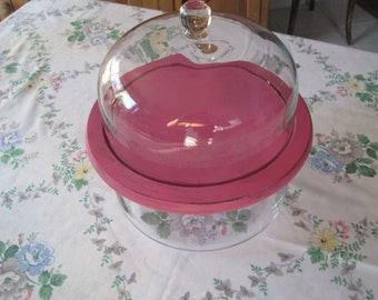 Country Farmhouse  Large Glass Party Bowl - Wood Serving Tray with Glass Cloche - Shabby Chic - Hand Painted Wood