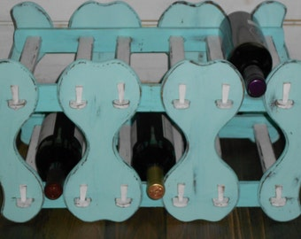 Shabby Chic Vintage Wood Wine Rack - French County Farmhouse Holds 6 Bottle - Hand Painted in Shades of Aqua & Cream