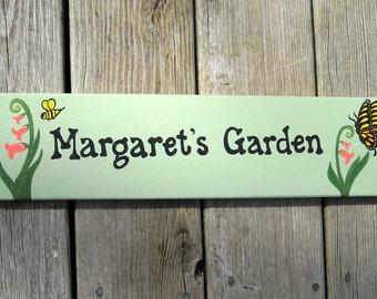PERSONALIZED GARDEN SIGN, Hand Painted, Custom Made Wooden Garden Sign, Gift for Gardener, Garden Sign, Custom Sign, Yard Art