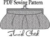Flourish Clutch by Toriska, PDF sewing pattern, digital clutch pattern, DIY purse, rectangle frame purse pattern, sewing tutorial