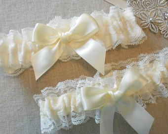 Wedding Garter Set Lace and Custom Color Satin Set with Beautiful Bow Garter Set