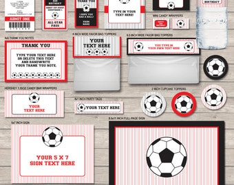 Soccer Party Printables - Red and Black - full Printable Package - INSTANT DOWNLOAD with EDITABLE text - you personalize at home