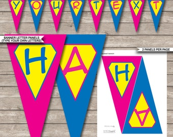 Superhero Girl Party Banner - Happy Birthday Banner - Custom Banner - Party Decorations - Bunting - INSTANT DOWNLOAD with EDITABLE text