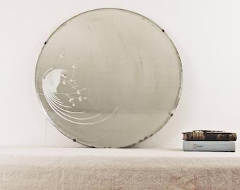 "vintage large mirror, wall mirror,art deco round mirror, beveled mirror, etched mirror, peacock, parrot, art deco mirror, 26"", circa 1940"