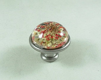 Flower Drawer or Door Pull, Resin Dried Flowers Pink and White, Home Improvement, Home Decor