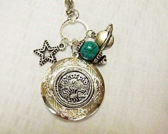 Silver Locket Necklace,      Zodiac Symbol Scorpio With Turquoise Beads And Charms  Womens Gift Handmade