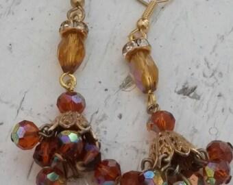 DANGLING AMBER CRYSTALS vintage assemblage earrings