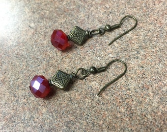 Antique Bronze Fire Polished Earrings / Ruby Red Earrings / Red Hot / Cinnamon Red / Holiday Earring / Party Earring / Gypsy / Antique Brass