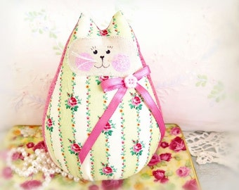 """Cat Doll 6""""  Free Standing Kitty, Ivory Green Pink Floral,Soft Sculpture Doll, Cottage Style Primitive Handmade CharlotteStyle Decorative"""