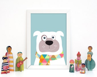 Nursery decor, Dog nursery kids art prints, animal prints, baby nursery decor, baby room decor, kids wall art, nursery art, nursery wall art