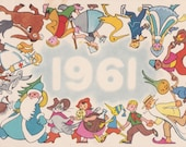 Signed. New Year's Postcard by N. Goltz -- 1960. Condition 6/10 (crumpled)