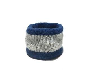 XX Small Blue and Gray Striped Wool Blend Dog Neck Warmer, Handmade Designer Dog Accessory