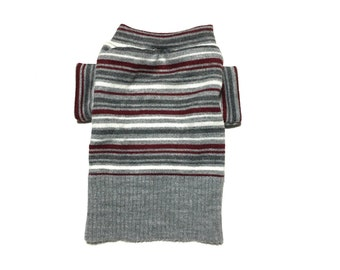 Designer Dog Sweater, X Small Gray, White and Maroon Striped, Handmade Pet Apparel, Boy Dog Clothes 0321