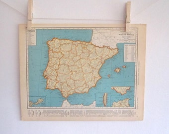 Spain Map, Portugal Map, Vintage Map, Orange and Blue, To Frame, Home Decor, Orange and Blue Map, Bright Map, Map Gift, Map Decor, Real Map