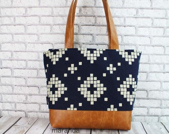Lulu Large Tote Diaper Bag Indigo Tiles and PU Leather READY to SHIP- Travel Overnight Purse Nappy Bag