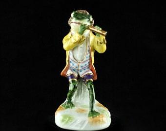 Antique Sitzendorf Porcelain Frog Musician Figurine