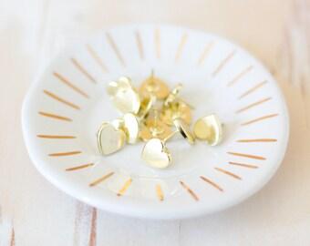 Gold Heart Metal Push Pins - 12 pc