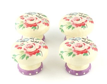Door Knob, Wooden Drawer Knob, Chelsea Roses Design, Purple Base Floral Door Knob, 45mm, Cupboard Knob, Drawer Pull, Shabby Chic Door Knob