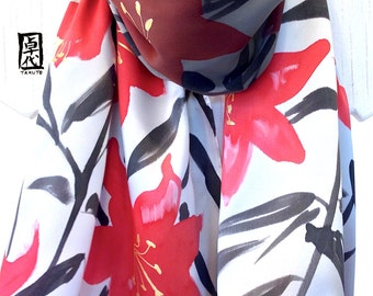 Silk Scarf Handpainted, Red and Black Scarf, Etsy ASAP, Red, Black, Gray and Golden Kimono Lilies Scarf, Silk Charmeuse Scarf, 15x60 inches.