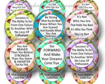 Inspirational, Quotes, Sayings, Bottle Cap Images, 1 Inch Circles, Digital Collage Sheet, Instant Download, Feminine Floral Print