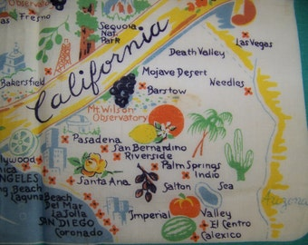California State Handkerchief - California Map Souvenir Hankie Hanky - 1950s PreDisneyland - Major Cities Tourist Attractions - Gift