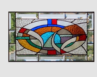 Abstract stained glass window panel geometric multi color stained glass panel window hanging colorful 0146 19 1/4 x 11 1/4