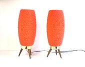 Pair Mid Century Teal Danish Accent Lamp-Orange