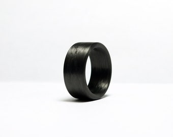 Carbon Fiber Ring - Wide Black Band Ring